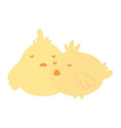 cute little chickens bird animal icon vector image