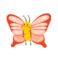cute smiling butterfly on white background vector image