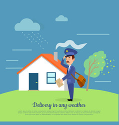 delivery in any weather postman delivers letters vector image