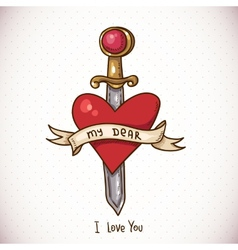 Doodle Greeting Card with sword ribbon and heart vector