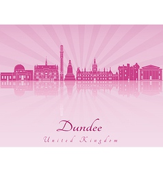 Dundee skyline in purple radiant orchid vector image