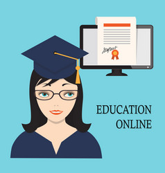 education online with girl and diploma into vector image