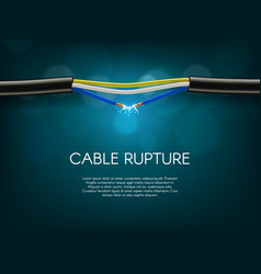 Electric cable rupture or damage banner vector