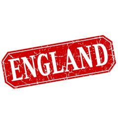 England red square grunge retro style sign vector