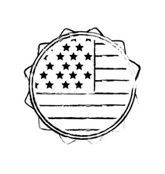Figure emblem with flag of usa inside vector