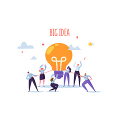 Flat business people with big light bulb idea vector