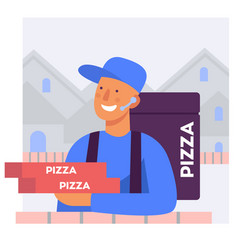 flat stylized a pizza delivery man vector image