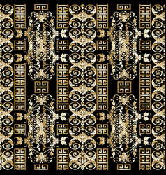 floral gold greek seamless pattern vintage vector image