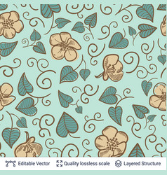 flowers and green leaves seamless pattern vector image