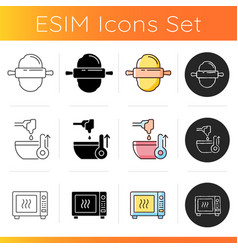 Food preparation icons set vector