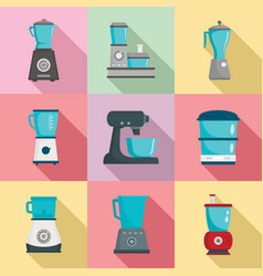 Food processor icon set flat style vector
