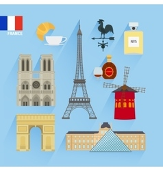 France flag and Paris landmarks vector image