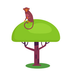 Funny monkey with long tail sits on big leafy tree vector