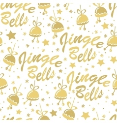 Golden bells seamless pattern vector image