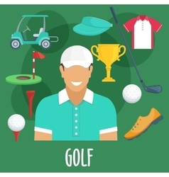 Golf sport profession equipment and outfit vector image vector image
