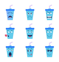 Graphic cartoon character of ice cup icons vector