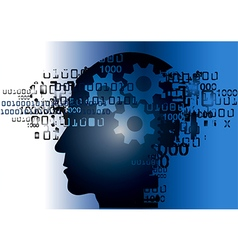 Hacker head silhouette with binary codes vector image