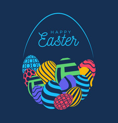 happy easter card with eggs many beautiful flat vector image