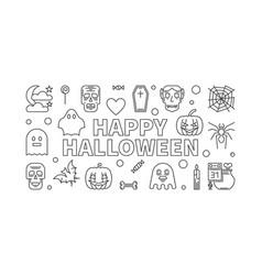 happy halloween line horizontal banner or vector image