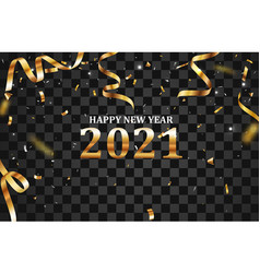 happy new year banner with gold confetti vector image