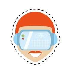 Hipter man virtual reality glasses technology vector