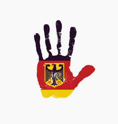 human handprint in colors german flag vector image