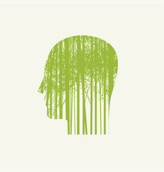 Human head in profile with green young trees vector