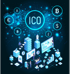 Ico bitcoin cryptocurrency people mining vector