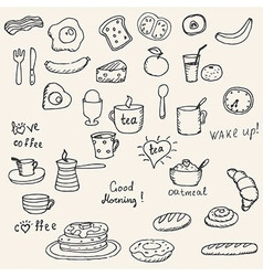 Icons breakfast foods vector