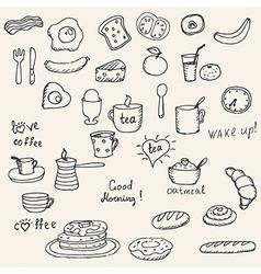 Icons breakfast foods vector image