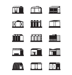 Industrial warehouses icon set vector