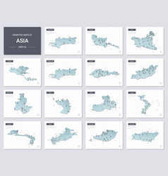 isometric maps set - asia continent maps asian vector image