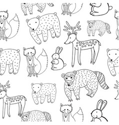 Kids drawing of animals - seamless pattern doodle vector