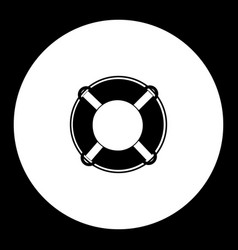 Lifebuoy ring simple black isolated icon eps10 vector
