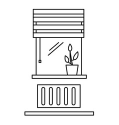 living room window icon outline style vector image