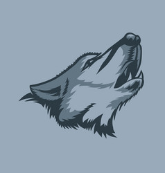 lonely howling wolf tattoo style vector image