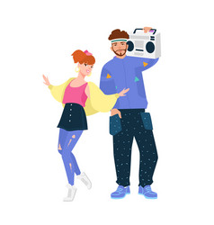 Man with boombox and woman wearing trendy clothes vector