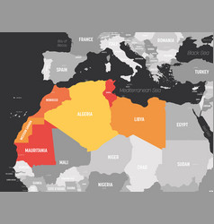 Map maghreb countries - northwest africa states vector