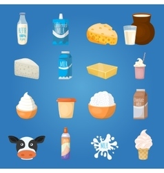 milk food icon set vector image