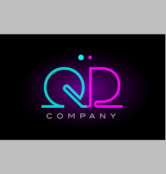Neon lights alphabet qd q d letter logo icon vector