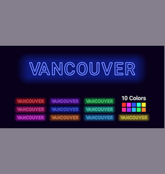 Neon name of vancouver city vector