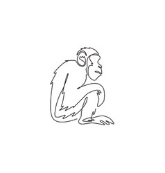 one single line drawing cute sitting vector image