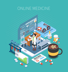 online medicine isometric composition vector image