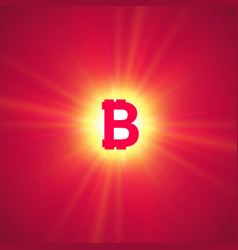 orange bitcoin cryptocurrency in the bright rays vector image