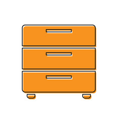Orange furniture nightstand icon isolated on vector