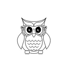 owl in glasses sticker pin patch in cartoon 80s vector image