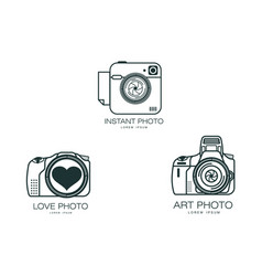 photo camera icon set isolated vector image