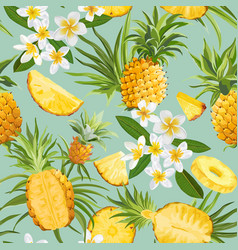 pineapple and tropical flowers seamless pattern vector image