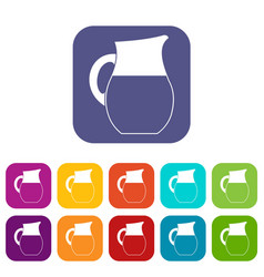 Pitcher of milk icons set vector