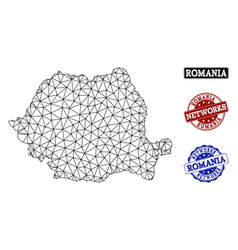 Polygonal network mesh map of romania and vector